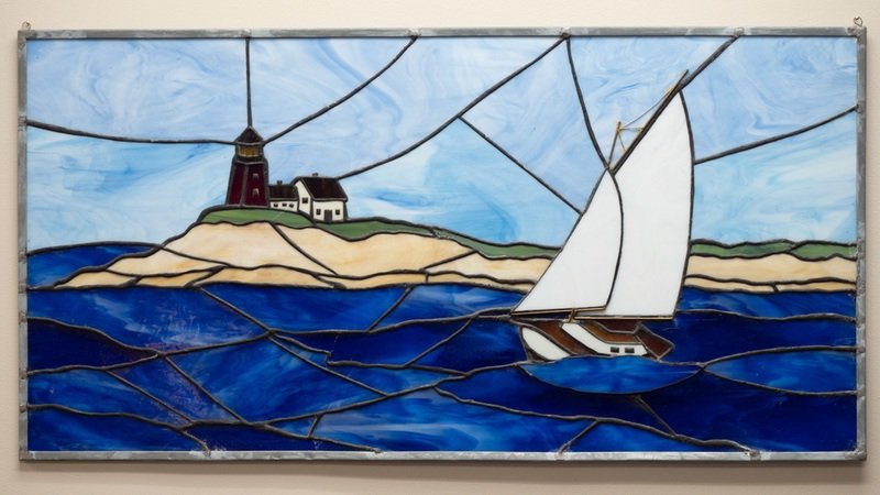 stain glass picture of a boat in the water